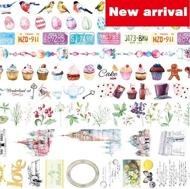 9Designs 20/25/40mm*5M HighQuality Birds Flowers Egg Pattern Japanese Washi Decorative Adhesive DIY Masking Paper Tape Sticker
