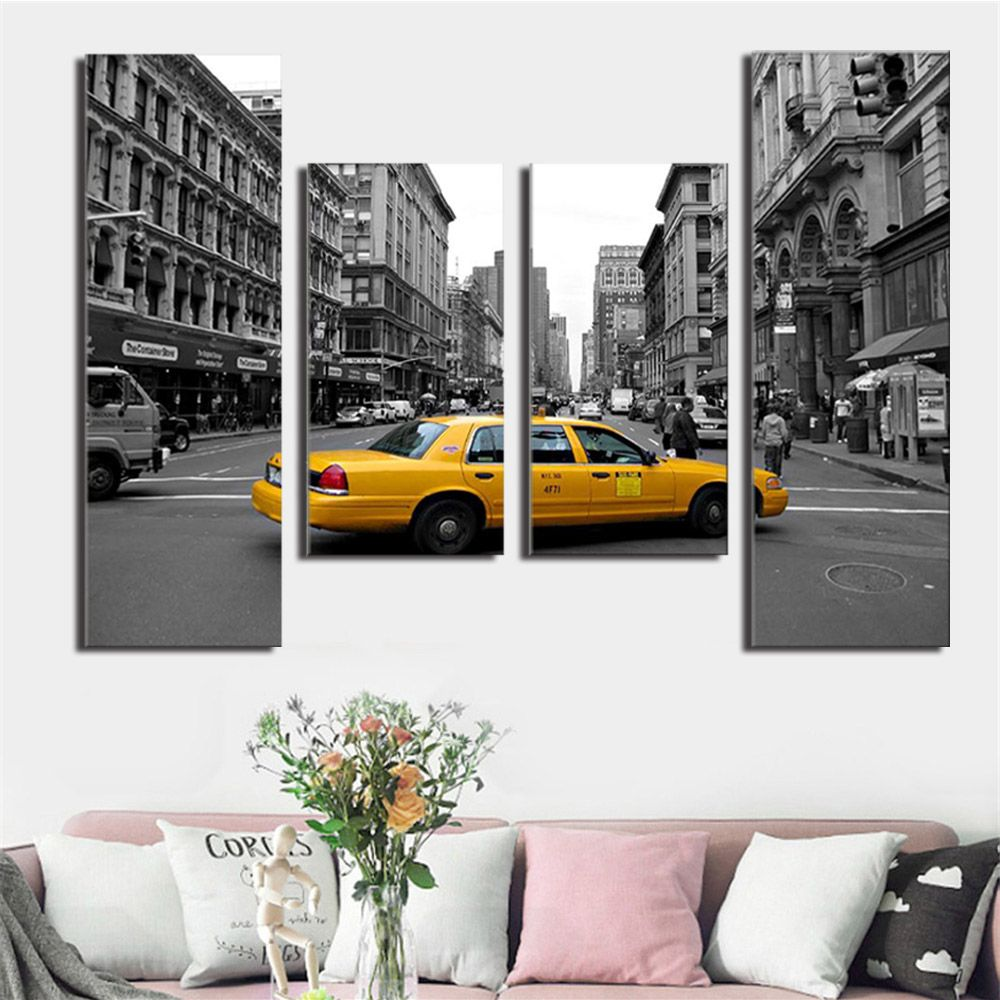 4 Pcs New York City Stree View Canvas Painting Wall Art Picture Gray Building Yellow Taxi Poster City Landscape Canvas Printing