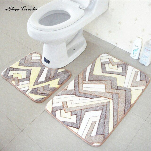 2PCS Rug Memory Foam Bathroom Rug Mat Floor Carpet Set Bath Mats Set Anti-slip Floor Mats  Bathroom Toilet Rugs Absorbent