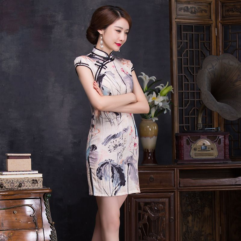 2016 New Summer Vintage Dresses Women's Elegant Ink Painting Cheongsams Party Dresses Chinese Traditional Style qipao CS50