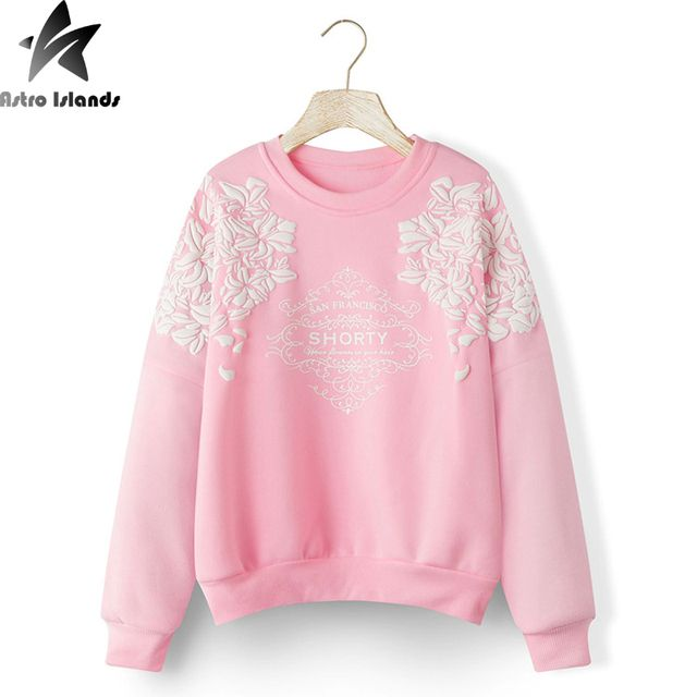 Print Graphic Floral Women Sweatshirt Hoodies Mujer 2016 Harajuku Hoodies Long Sleeve Loose Hoody Warm Women Casual Clothes J495