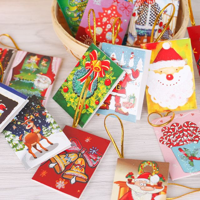 20pcs/Set Nice Merry Christmas Card Greeting Card Wish Card sticker ornaments pendant Christmas tree ornaments fashion gifts