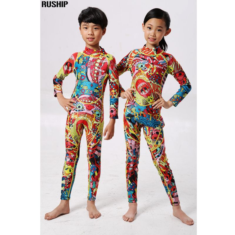 Hisea 2.5mm Neoprene Kids Wetsuits Elastic Snorkeling thicke warmness long Sleeve Swimming Diving Suit Jumpsuit Beach Swimwear