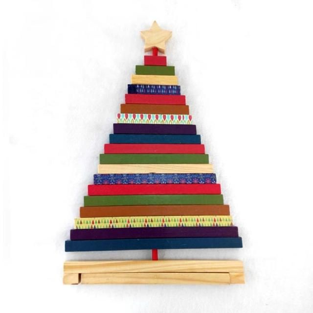 New Creative Design Mini Wooden Handmade Decorative Christmas Tree Adjustable Striped Christmas Tree Toys Gift For Christmas