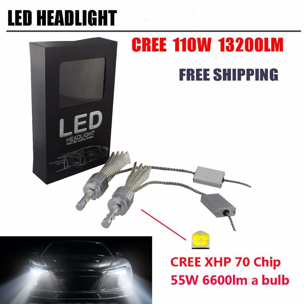 13200Lm 110W LED Headlight H4 H13 9004 9007 H7 9005 HB3 9006 HB4 H8 H9 H11 XHP-70 Chips Car Headlights