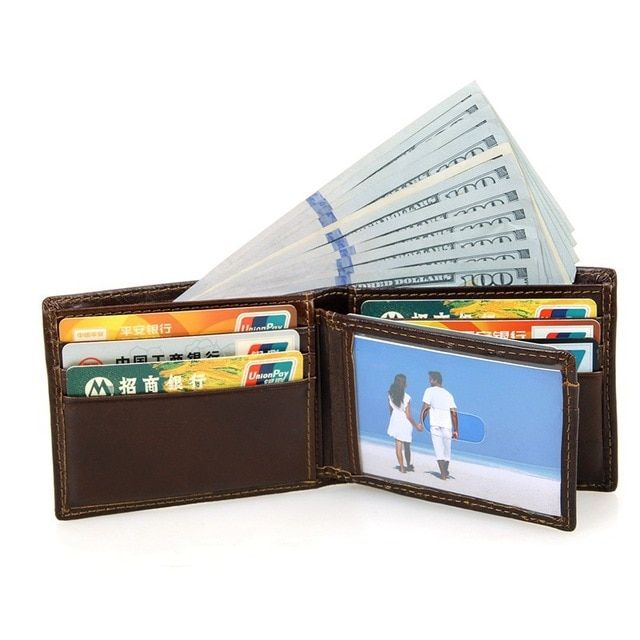 RFID Blocking Men Wallets High Quality Credit Card Holder Wallet with Drivers License Photo Holder 2017 New Fashion Men's Purse