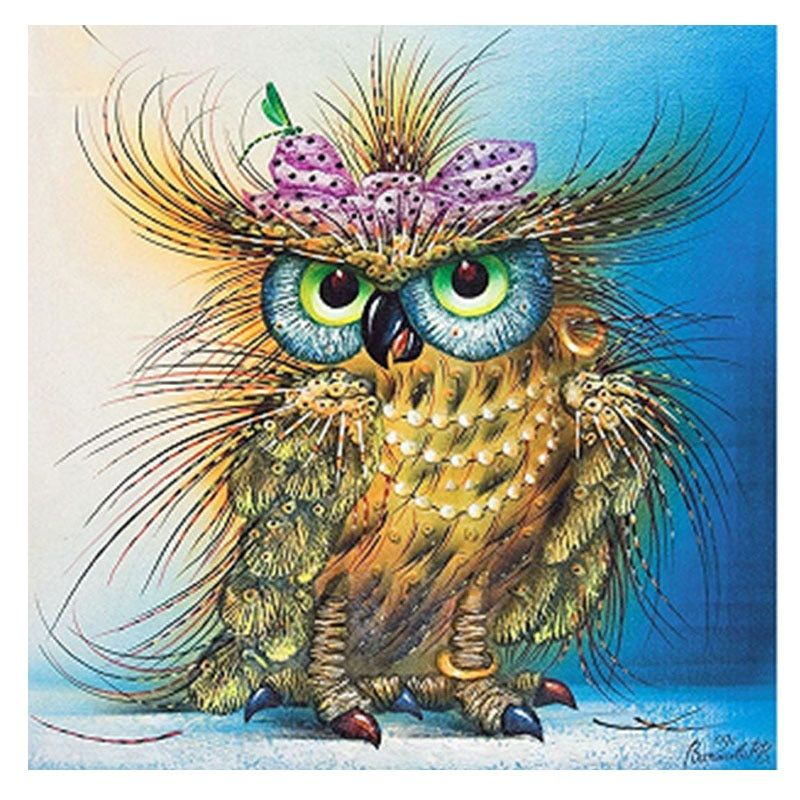 5d diamond embroidery  picture colorful Owl bird diamond painting animal round mosaic cross stitch  diamond embroidered animals
