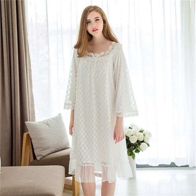New Summer Women Nightgowns Women Sexy Lace Nightdress Modal Lace Princess Palace Sleepwear 666