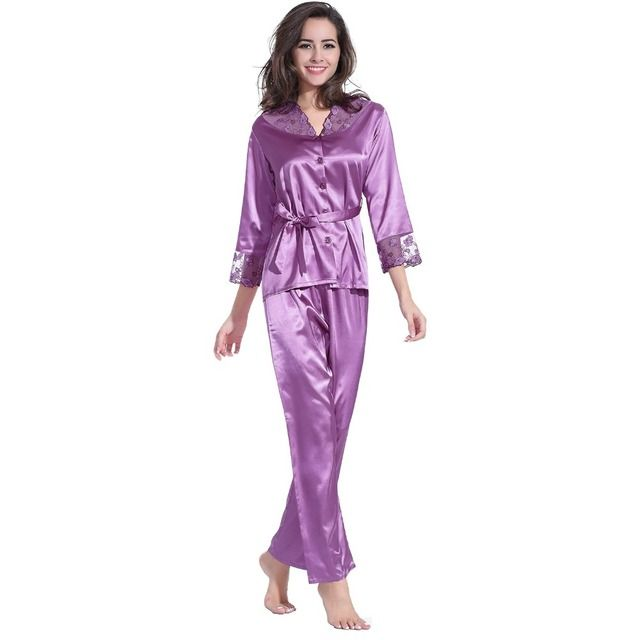 Satin Women Pajamas Sets Lace V-Neck  Long Sleeve Tops with Full-Length Pajama Pants Champagne / Purple / Rose Home Clothing