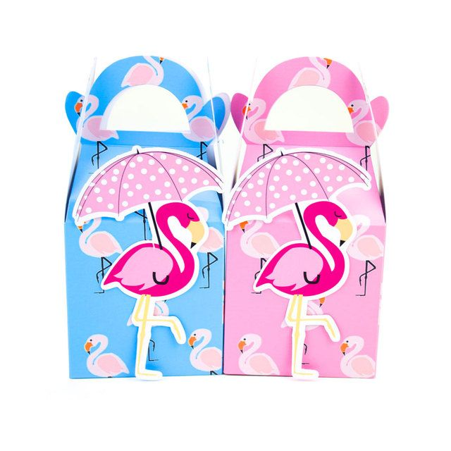 Flamingo with Umbrella Favor Box Candy Box Gift Box Cupcake Box Boy Kids Birthday Party Supplies Decoration Event Party Supplies