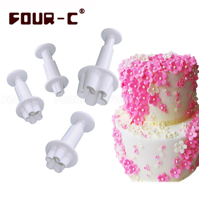 Blossom little flower plastic sugar craft fondant plunger cake cutters classic cake decorating tools fondant mold