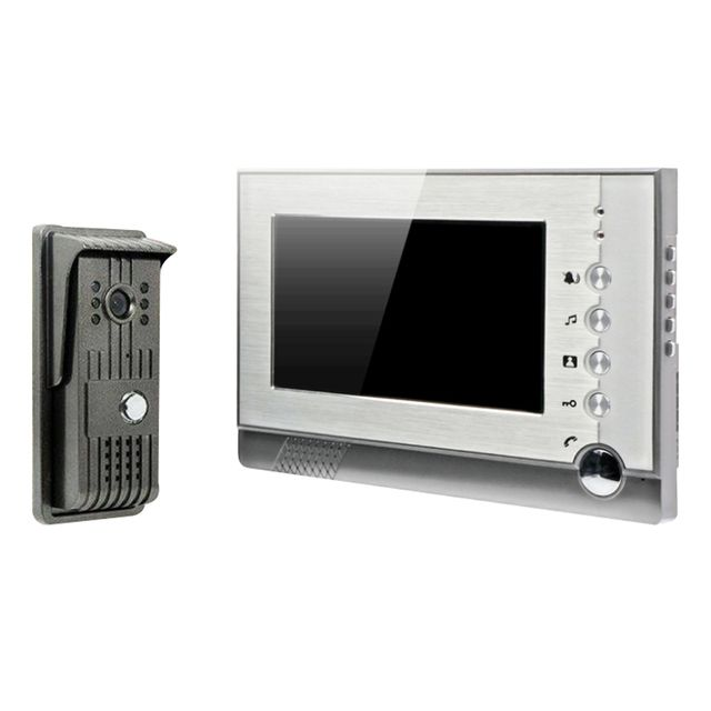 7 Inch Recordable Video Door Phone Intercom With Photo Shooting Video Recording DVR SD Card Support TFT-LCD DB182