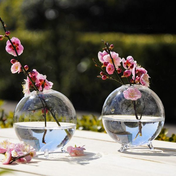 2017 New Clear Ball Glass Hanging Vase Bottle Terrarium Hydroponic Container Plant Pot Flower DIY Home Wedding Decor
