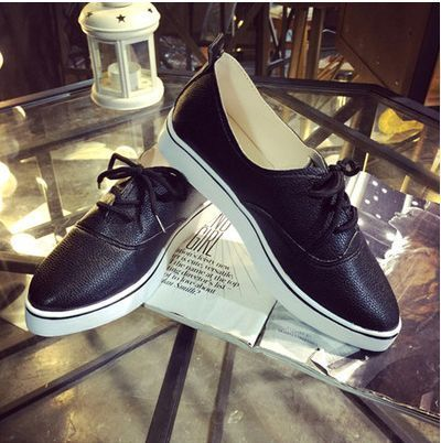 White Black Autumn Section Lace Thick Crust Student Trifle Leisure Low To Help Shallow Mouth Flat Shoes Free Shipping
