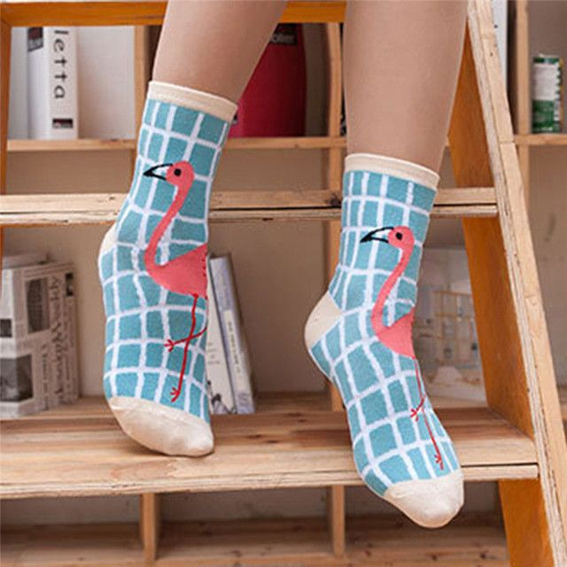 1 Pair Fashion Women Flamingo Series Novelty Crew Soft Warm Comfortable Socks
