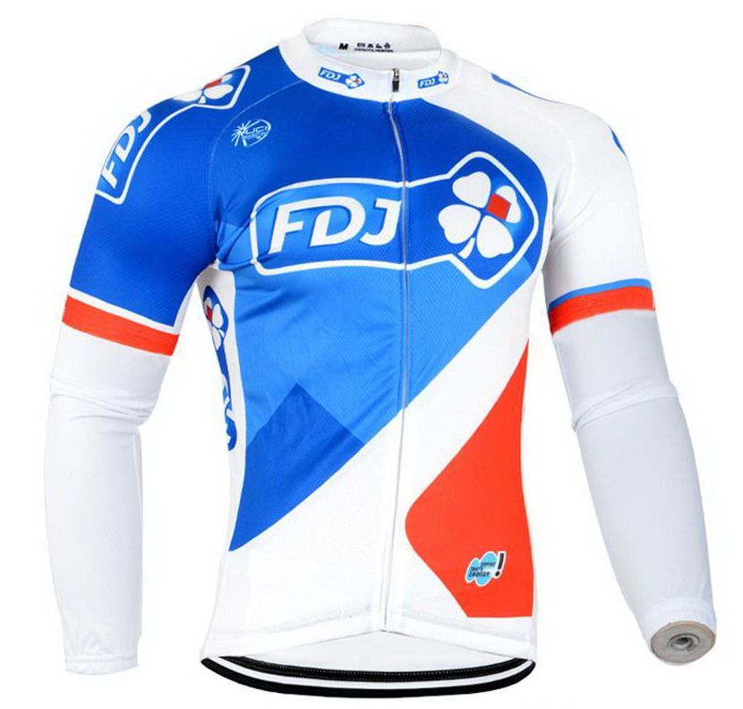 WINTER FLEECE THERMAL 2016 FDJ PRO TEAM 4 COLORS ONLY LONG SLEEVE ROPA CICLISMO CYCLING JERSEY CYCLING WEAR SIZE XS-4XL