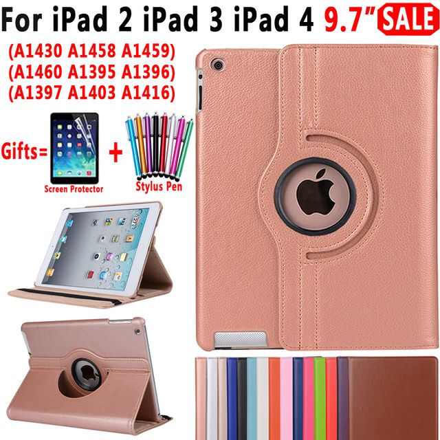 360 Degree Rotating Leather Smart Auto Sleep Awake Stand Case Cover for Apple iPad 2 3 4 9.7 inch Coque Capa Funda + Film + Pen