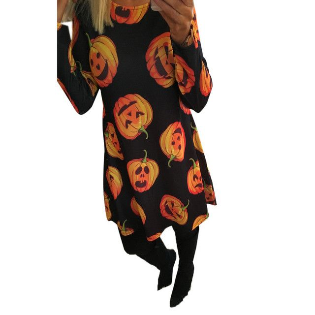 Vestidos Femininos 2016 Women Ladies Long Sleeve Halloween Pumpkin Printing Christmas Party Swing Dress Plus Size Free Shipping