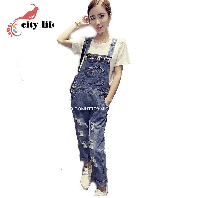 S-2XL Women Girls Denim Casual Jumpsuit Romper 2016 New Overalls Hole Jeans Blue Combinaison Femme Macacao Pants