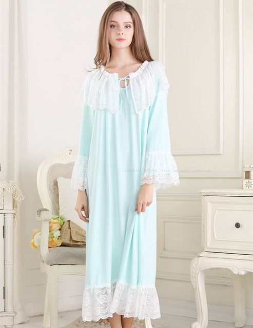 Free Shipping 2015 New Pyjamas Frincess Nightdress Women's Cotton Long Nightgown Home Wear Nightshirt