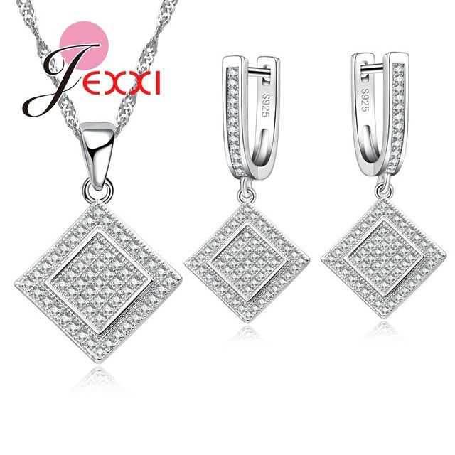 JEXXI New Square Shape Design Fashion S925 Sterling Silver Full Clear Micro Cubic Zirconia Crystal Party Jewelry Sets For Female