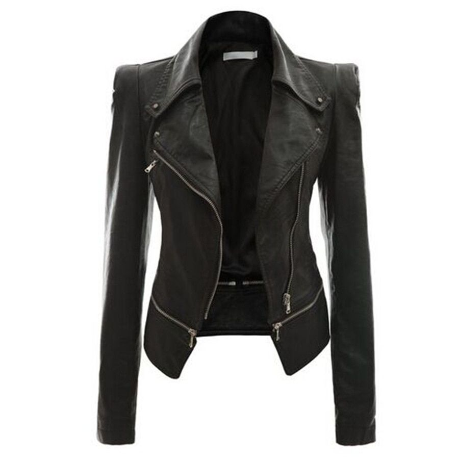 Leather Jacket Short Women Motorcycle Jacket Jaqueta De Couro Casaco Feminino Veste En Cuir Femme  two kinds worn leather coat