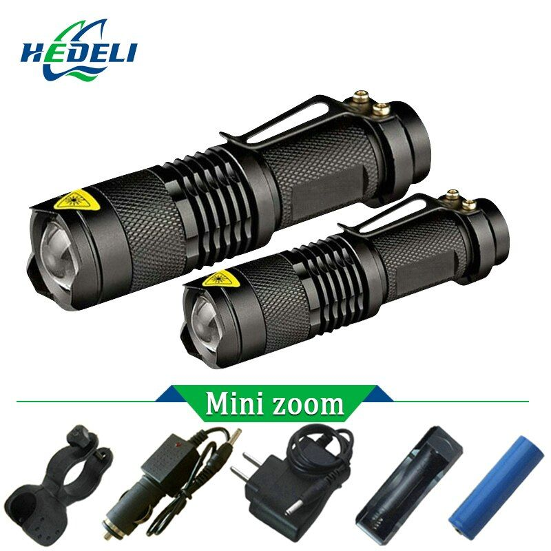 Mini CREE XM L2 Led flashlight Zoom Torch Flash light rechargeable XML T6 Flashlight 3800 Lumen Use 18650 rechargeable battery