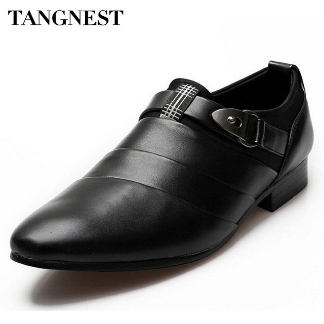 Tangnest Men Shoes 2017 Fashion PU Leather Loafers Men Casual Slip On Business Shoes For Male Pointed Toe Oxfords Flats XMP039