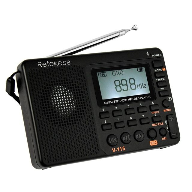 RETEKESS FM/AM/SW Radio Multiband Radio Speaker Receiver REC Recorder Bass Sound MP3 Player TF Card Speakers w/ Sleep Timer