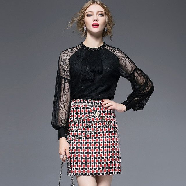Women Blouses and Shirts 2016 Autumn Long Sleeve Ladies Lace Tops