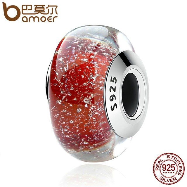 BAMOER 925 Sterling Silver Snow White's Signature Color Murano Glass Beads fit Bracelet Authentic Silver Jewelry S925 SCZ022
