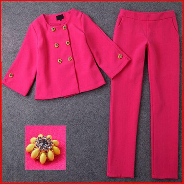 2017 Double-breasted Ladies Blazer Pant Women Business Suits Formal Office Suits Work Elegant  Women Suits With Pencil Pants