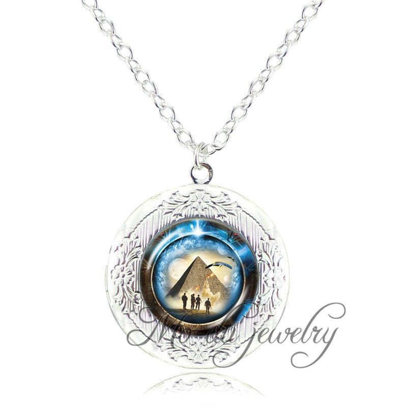 Stargate Portal Atlantis pendant pyramid jewelry space pendant glass dome locket necklace stargate portal travel through time