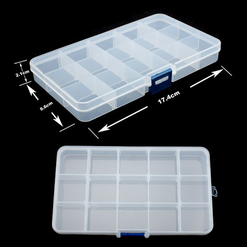 Hot Sales Plastic 15 Slots Storage Box Compartment Adjustable Jewelry Necklace Transparent Organizer Case Holder Craft Organizer