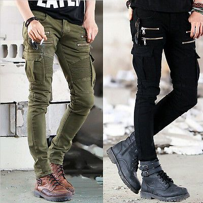 Mens Cotton Super Stretch Skinny Slim Fit Jens All Waist  Leg Size Full Length with Black and Army Green