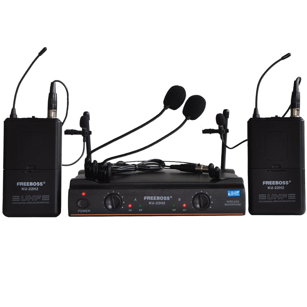 FREEBOSS KU-22H2 UHF Wireless Microphone System DJ Karaoke 2 Lapel 2 Headset microphone (2 Bodypack Transmitter)