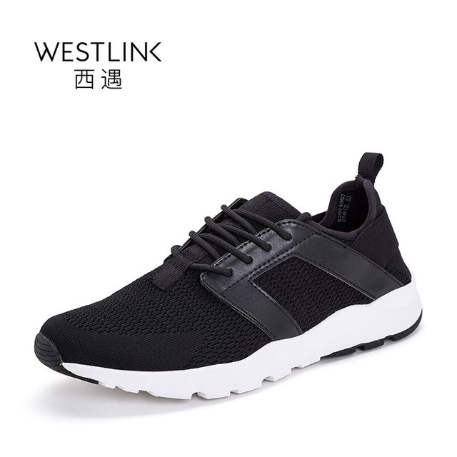 Westlink Breathable Slight Round Toe Flat Lace-up Sport Casual Shoes Fashion Men Vulcanize Shoes Black 2017 Summer New