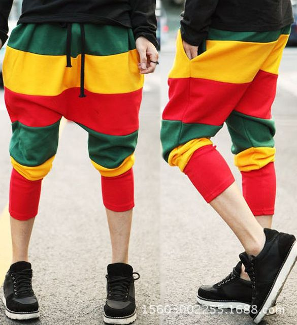Baalmar Womens Jamaican Reggae Harem Hip Hop Dance Pants Sweatpants Striped Costumes Green Yellow Red Panelled Female Trousers