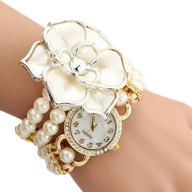 XINIU Luxury Women's Bracelet Watches Personalized Flowers Pearl Wrapped Bracelet Watch Ladies clock top brand reloj mujer #A889