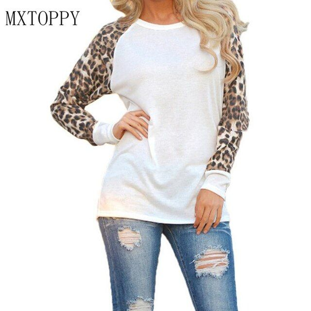 Fashion 2017 New Women Ladies Spring Autumn Long Sleeve Leopard Loose Casual Tees Tops T Shirt 3 Colors Plus Size M-3XL