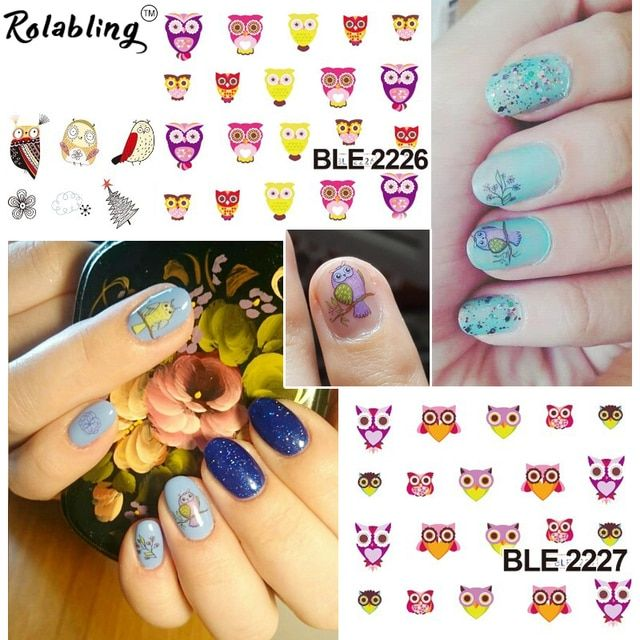 Rolabling Cute Owl Cartoon Nail Sticker Decal For Nail Water Transfer Cheap Nail Sticker Decoration Decal On Nail