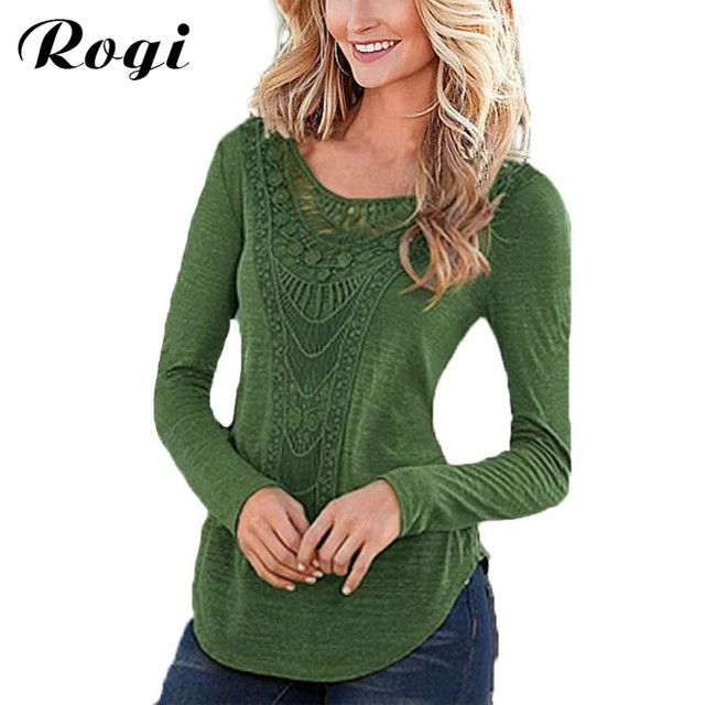 Rogi Women Elegant Blouses Shirt Long Sleeve Lace Female Tops Casual Harajuku Solid O-Neck Tee Shirt Blusas Poleras De Mujer