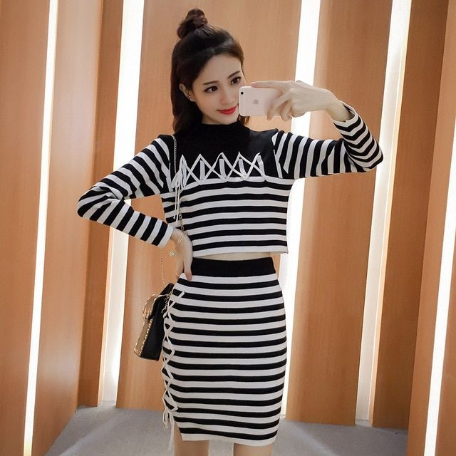 Autumn Winter 2016 New Women Half Tertleneck Lace Striped Long Sleeve Cut Off Sweater Suit Slim Knited Skirt