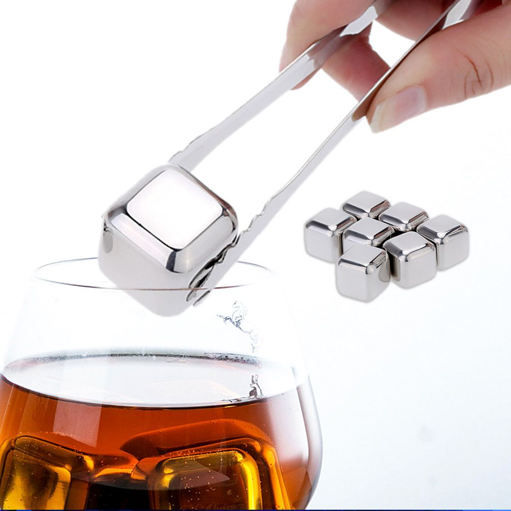 8Pcs Stainless Steel wine cooler whiskey ice stones Ice Cubes Drinks Cooler Cubes With a plastic storage case & a pair of tongs