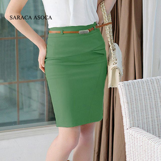 Free Shipping Slim Hip Knee-Length  Plus Size XXL Solid  Women's Office Work Skirt  Fashion Cotton Pencil Skirts Ladies