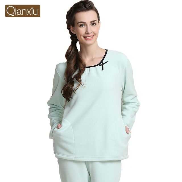Qianxiu Pajama sets For women  Autumn&Winter Women Lounge Wear Thicken Fleece Pajama Set