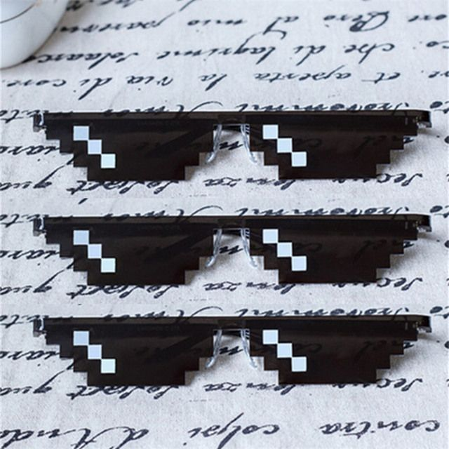 Hot Sale Deal With It Glasses Women Men Rectangle polygonal thug life Sunglasses Mosaic Masculine 8 Bits Pixel Sun Glasses