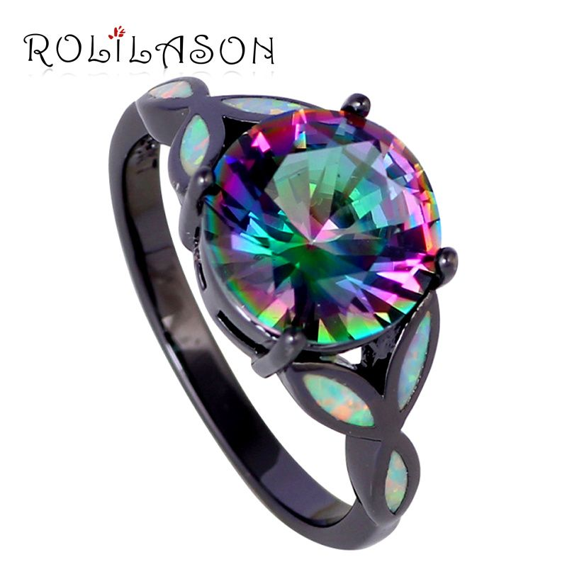 Women Black Gold Tone Jewelry Multicolor Zircon White fire Opal ring fashion jewelry OR751