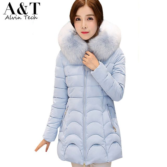 New Fashion Winter Women Padded Jacket Female Slim Candy Color Down Cotton Wadded Coat Faux Fur Hoodies Parka Plus Size Clothing
