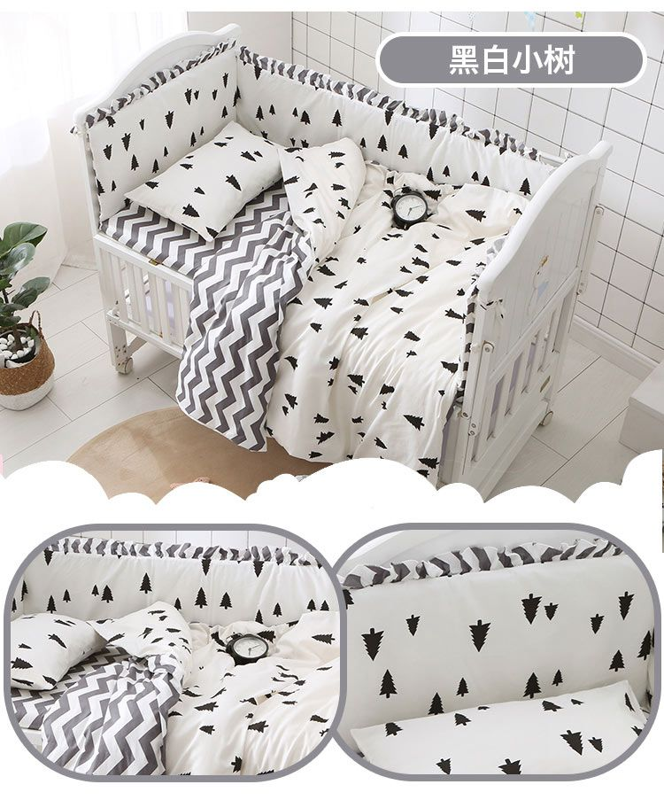Promotion! pine wave Cartoon 6-9pcs baby cot bedding sets baby crib bedding set for baby bed